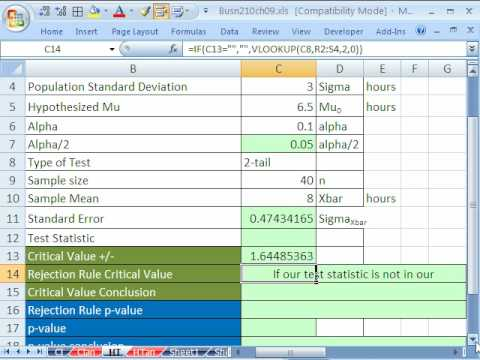 Excel Statistics 88: Confidence Interval & Hypothesis Tests