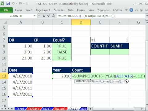 Excel Magic Trick 572: COUNTIF & SUMIFS functions & Logical Formulas have Different Syntax