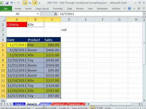 Excel Magic Trick 835: Drill Through Conditional Formatting Across Sheets Using Format Painter