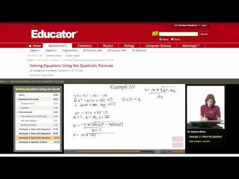 Algebra: Quadratic Formula