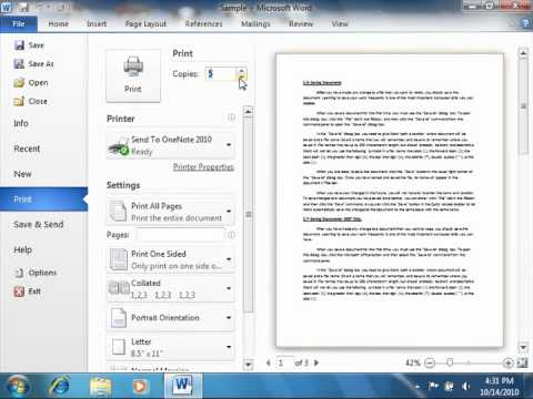 Word 2010 Tutorial Previewing and Printing Documents-2010 Microsoft Training Lesson 9.1
