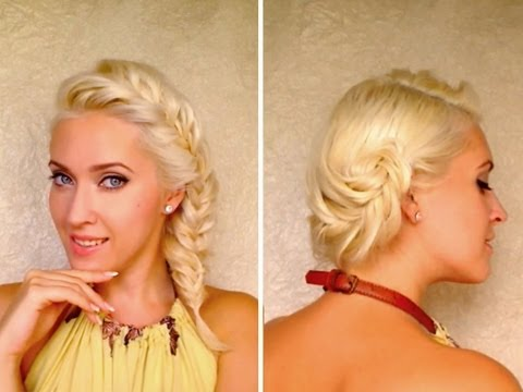French fishtail braid hairstyles for medium long layered hair tutorial Picture day updo look