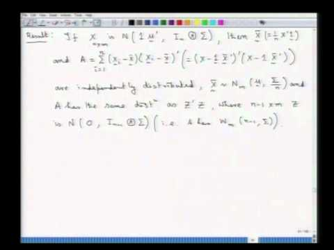 Mod-01 Lec-10 Random sampling from multivariate normal distribution and Wishart distribution - III