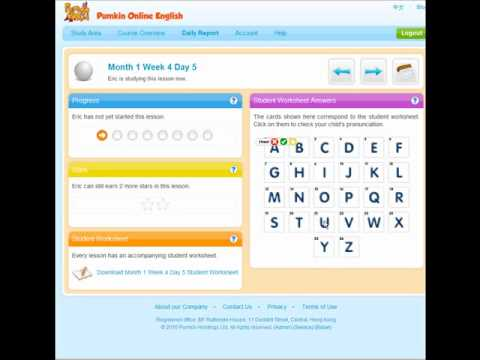 Pumkin Online English Tutorial - For parents and teachers who have young basic English learners