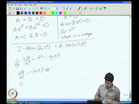 Mod-03 Lec-12 Unidirectional Transport Cartesian Coordinates - V Seperation of Variables