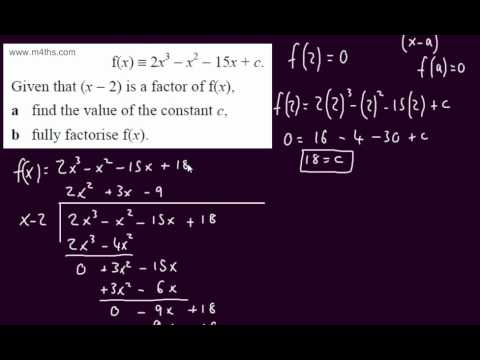 (6) Core 2 Algebra - Factor Thereom to solve for constant (equating coefficients) C2