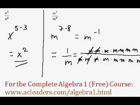 (Algebra 1) Exponents - Quotient Rule (Dividing Exponents) Questions #1-2