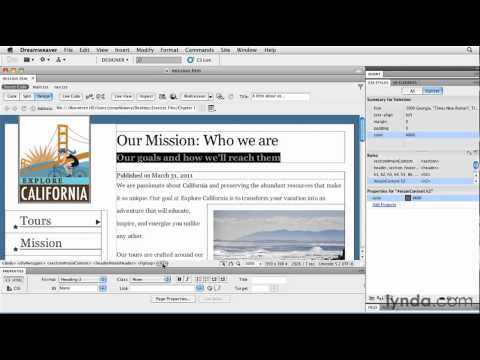 Making HTML edits in the Property inspector | lynda.com tutorial
