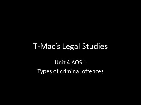 VCE Legal Studies - Unit 4 AOS1 - Types of criminal offences