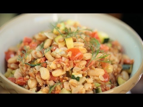 Farro Veggie Risotto Recipe w/ Zucchini (How to Make Vegetable Risotto) || KIN EATS
