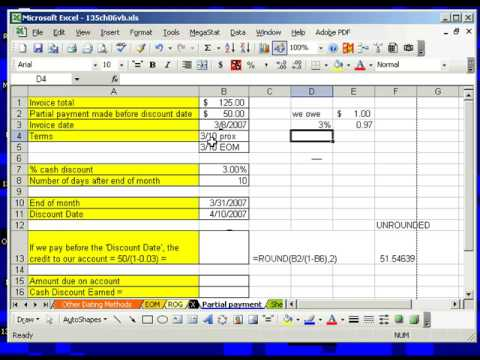 Excel Busn Math 47: Partial Invoice Payment w Discount