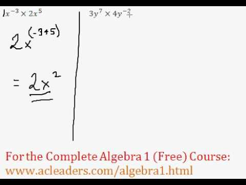 (Algebra 1) Exponents - Product Rule (Multiplying Exponents) Questions #3-4