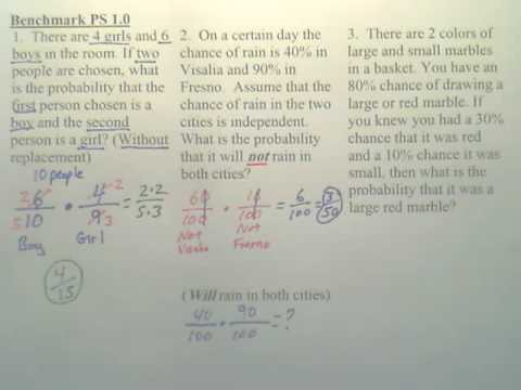 Benchmark PS 1 - Probability of Independent and Dependent Events - Algebra 2