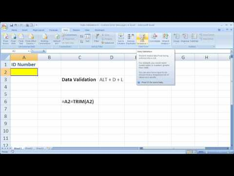 Data Validation 8 - Custom Error Messages in Excel