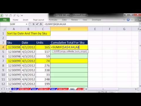 Excel Magic Trick 941: Running Totals That Adjust At Each Change In Sku Number In First Column