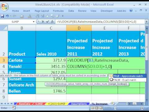Highline Excel Class 10: VLOOKUP SUMIF & Percentage Increase