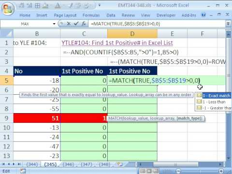 Excel Magic Trick 345: Find 1st Positive number and assign 1 MATCH & COUNTIF functions