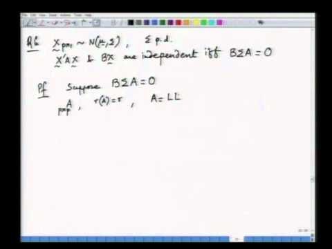 Mod-01 Lec-05 Multivariate normal distribution - III