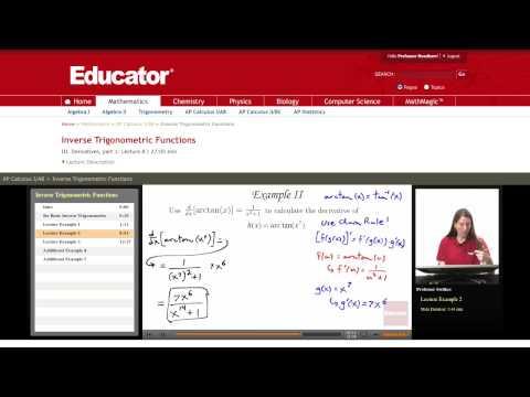 Calculus: Inverse Trigonometric Functions