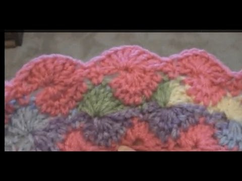 Left Hand Crochet Round Shell- Catherine Wheel - Harlequin Stitch - Double Crochet