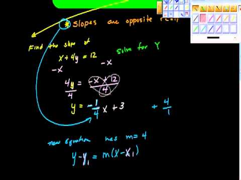 Find an equation of a line Perpendicular to a Point Algebra