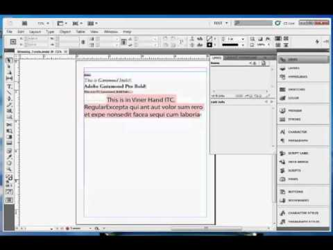 InDesign Training : How to Replace Missing Fonts in Adobe InDesign CS5