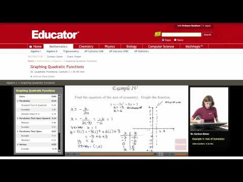 Algebra: Graphing Quadratic Functions
