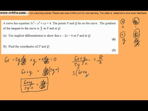 (q4) Core 4 June 2008 Edexcel Past Paper - Implicit differentiation