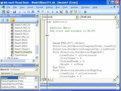 Highline Excel Class 52: Recorded Macro Basics