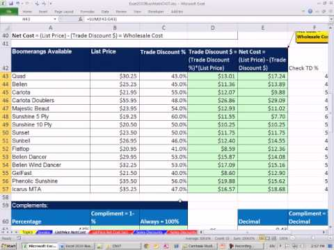 Excel 2010 Business Math 57: Calculating Single Trade Discounts and Net Cost (Wholesale Cost)