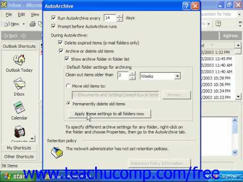 Outlook 2003 Tutorial Setting AutoArchiving for Folders XP & 2000 Microsoft Training Lesson 11.4