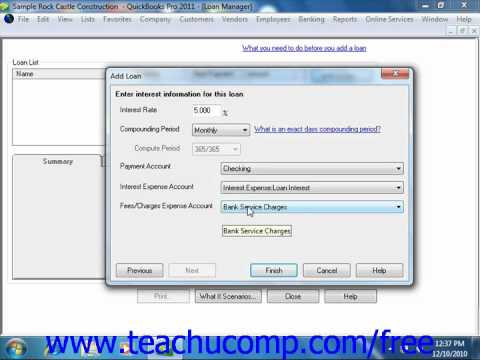 QuickBooks 2011 Tutorial The Loan Manager Intuit Training Lesson 22.8