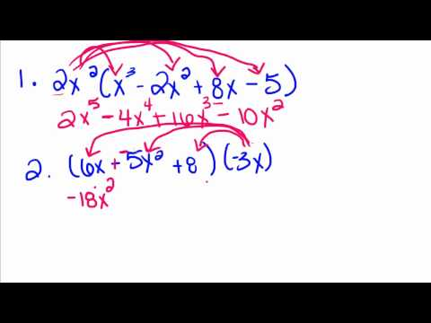 Algebra Tutorial - 14 - Multiplying a Polynomial by a Monomial
