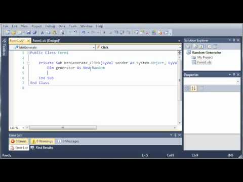 Visual Basic Tutorial - 89 - Random Number Generator