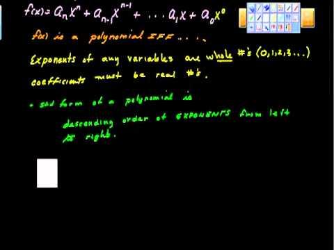 polynomial function pt I (Algebra II and Precalculus)