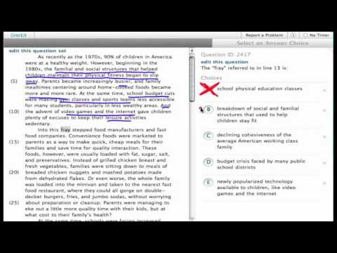 Grockit SAT Reading - Passage Based Reading: Question 2417