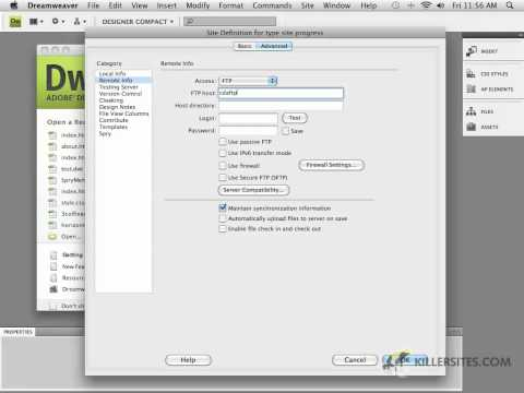 Photoshop for the Web - Dreamweaver's Site Window