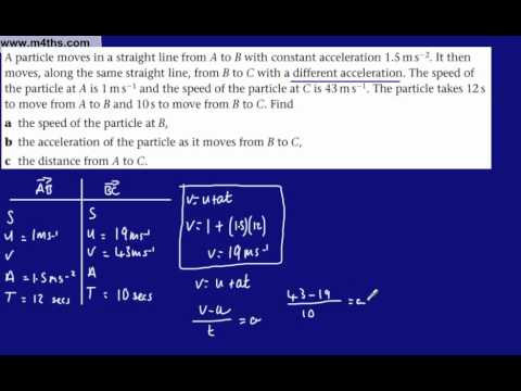 (c) M1 Constant Acceleration SUVAT Equations (medium example from Mechanics 1)