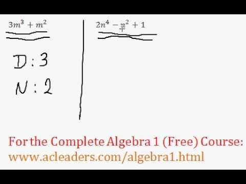 (Algebra 1) Polynomials - Classifying Polynomials Questions #1-2
