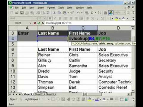 VLOOKUP Introduction, Explanation, Example in Excel (1 of 2)
