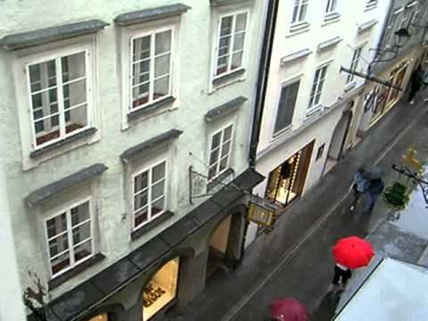Getreidegasse Street with bells from above, Salzburg, Austria
