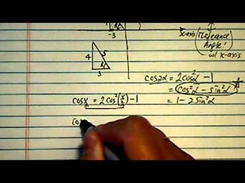 Trig Identities & Exact Value: find cos(x/2) if cos x = -3/5 & x is in quadrant II.