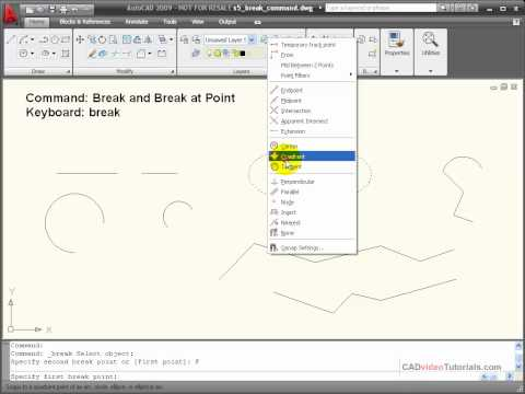 AutoCAD Tutorial - Using the BREAK Command