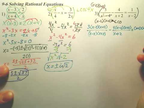 Algebra 2 - 9.6c Solving Rational Equations - Algebra 2