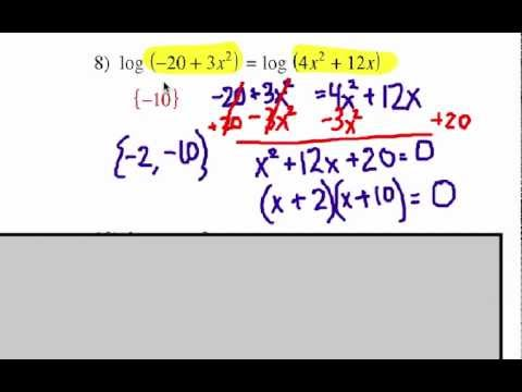 How to Solve Logarithmic Equations: Problem Set 4