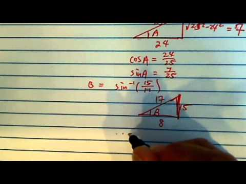 How to do inverse trig functions with no calculator Cos@ if @ = arccos(24/25) - arcsin(15/17)?