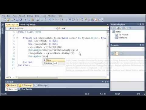 Visual Basic Tutorial - 88 - Dates Part 3