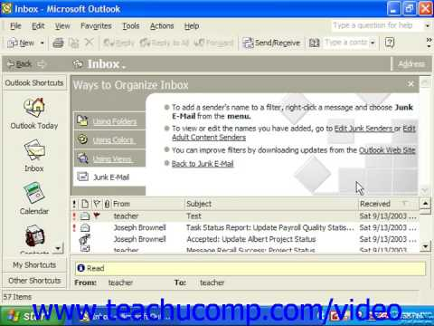 Outlook 2003 Tutorial Handling Junk Email Microsoft Training Lesson 13 6