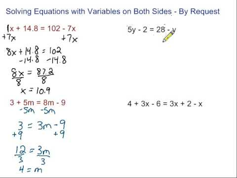 Equations With Variables on Both Sides - By Request