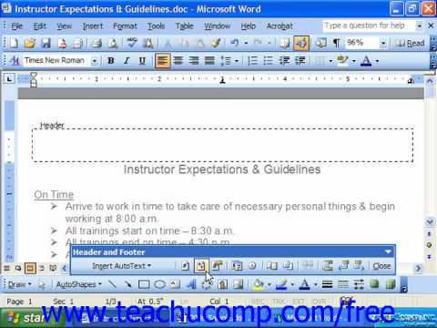 Word 2003 Tutorial Viewing the Header & Footer Microsoft Training Lesson 7.3